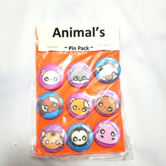 Animal Badge Pin Pack Set Of 9 Button Badge Pins